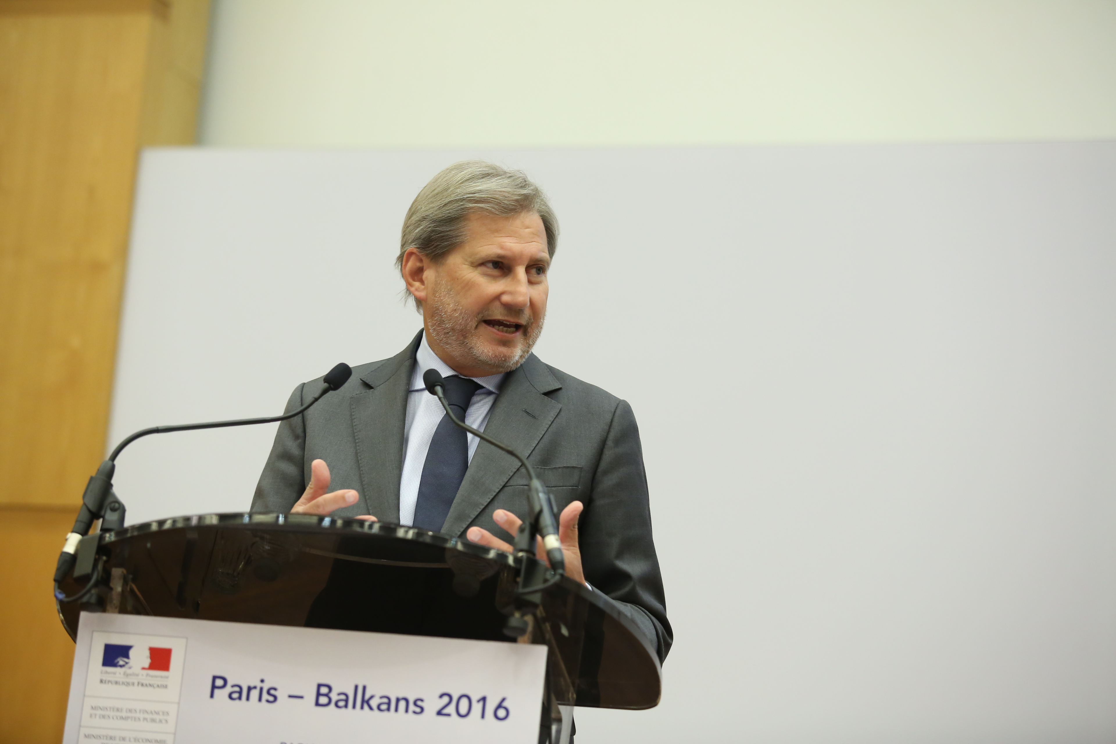 Johannes Hahn, takes part in the Western Balkan Summit at the French conference center at Bercy in Paris, France, on 4th of july, 2016.