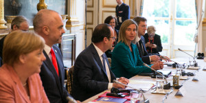 Angela Merkel, German Prime Minsiter, Edi Rama, Albanian Prime Minister, François Hollande, French President, Federica Mogherini, and Miro Cerar, Slovanian Prime Minister, during the Plenary Session, at the Elysée Palace, in Paris, France, on the 4th of July 2016.