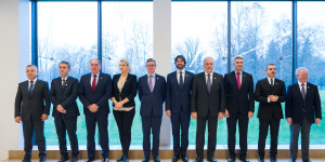 European Commissioner Julian King (5th L) and Dimitris Avramopoulos (4th R), European Commissioner for Migration, Home Affairs and Citizenship attend a family photo oportunity during the EU Western Balkans Ministerial Forum on Justice and Home Affairs in Brdo pri Kranju, Slovenia on December 16, 2016.
