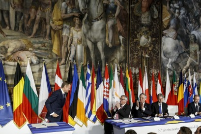 Donald Tusk, President of the European Council during ceremony of the signature of the Rome Declaration in occasion of Celebrations of the 60th anniversary of the Treaties of Rome, in the Palazzo dei Conservatori, Sala degli Orazi e dei Curiazi, Rome 25 march 2017.