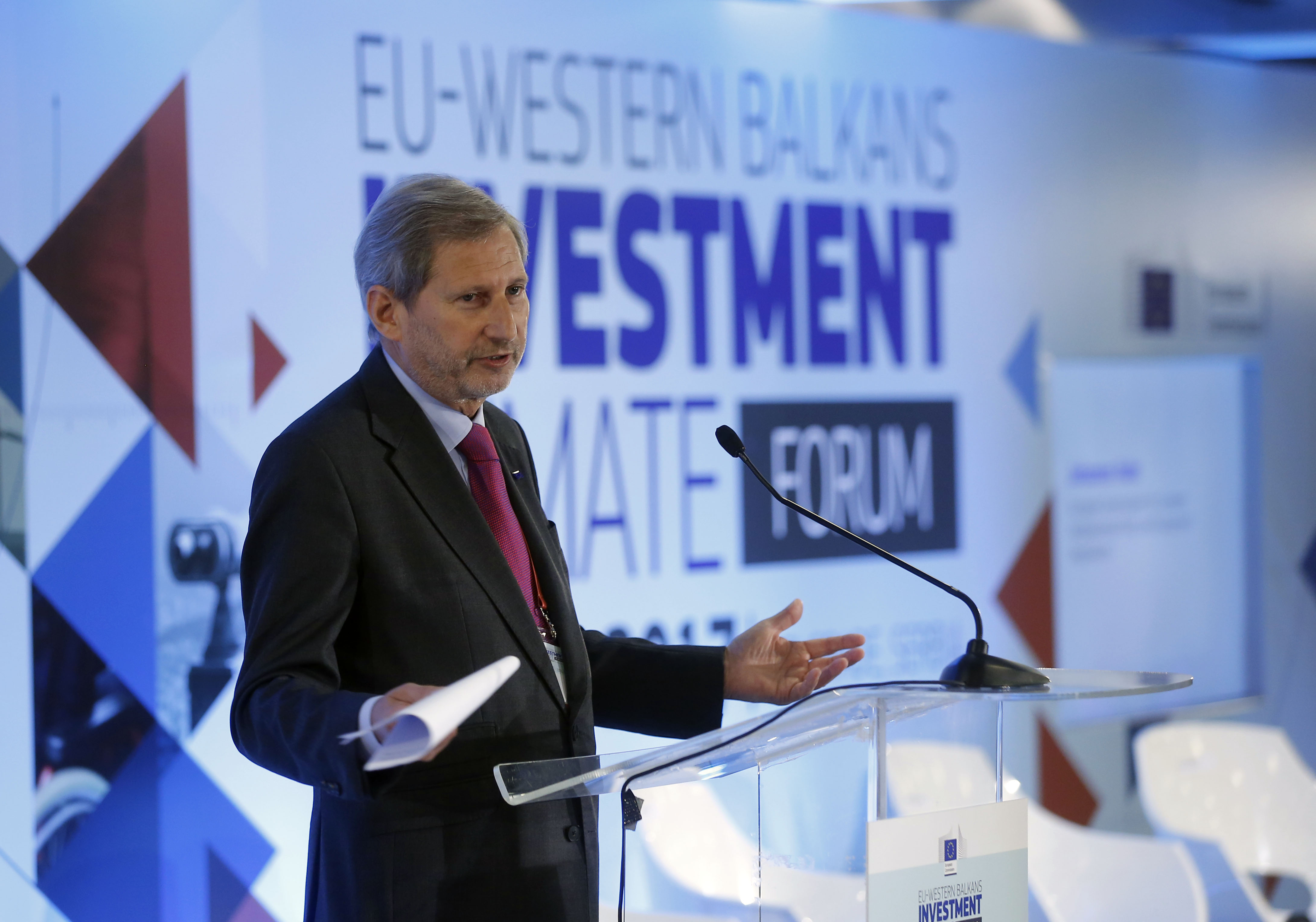 EU European neighborhood policy and enlargement negotiations commissioner Johannes Hahn speaks at  a EU-Western Balkans Investment Climate Forum  in Belgrade on June ,8.2017.