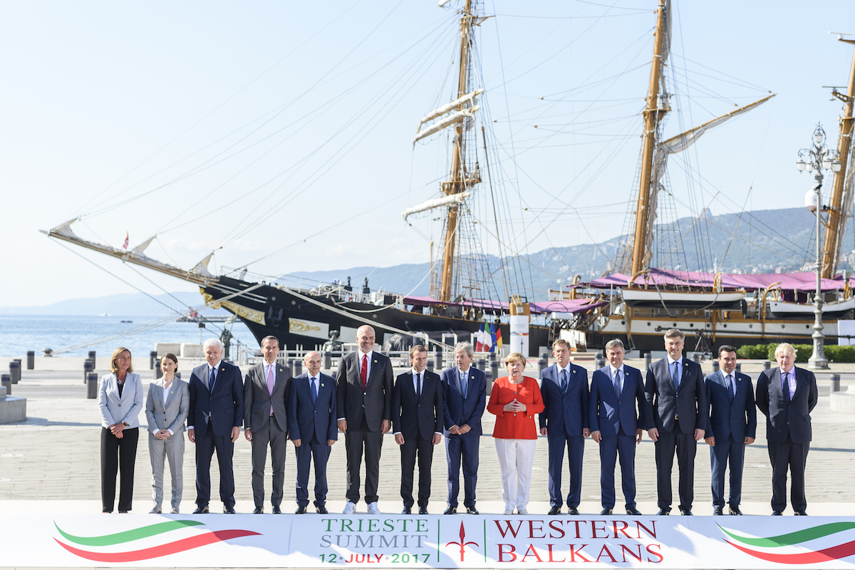 Federica Mogherini, High Representative of the Union for Foreign Affairs and Security Policy attends for a family photo prior to the meeting with Prime Ministers during the Western Balkans Summit in Trieste, Italy on July 12, 2017.