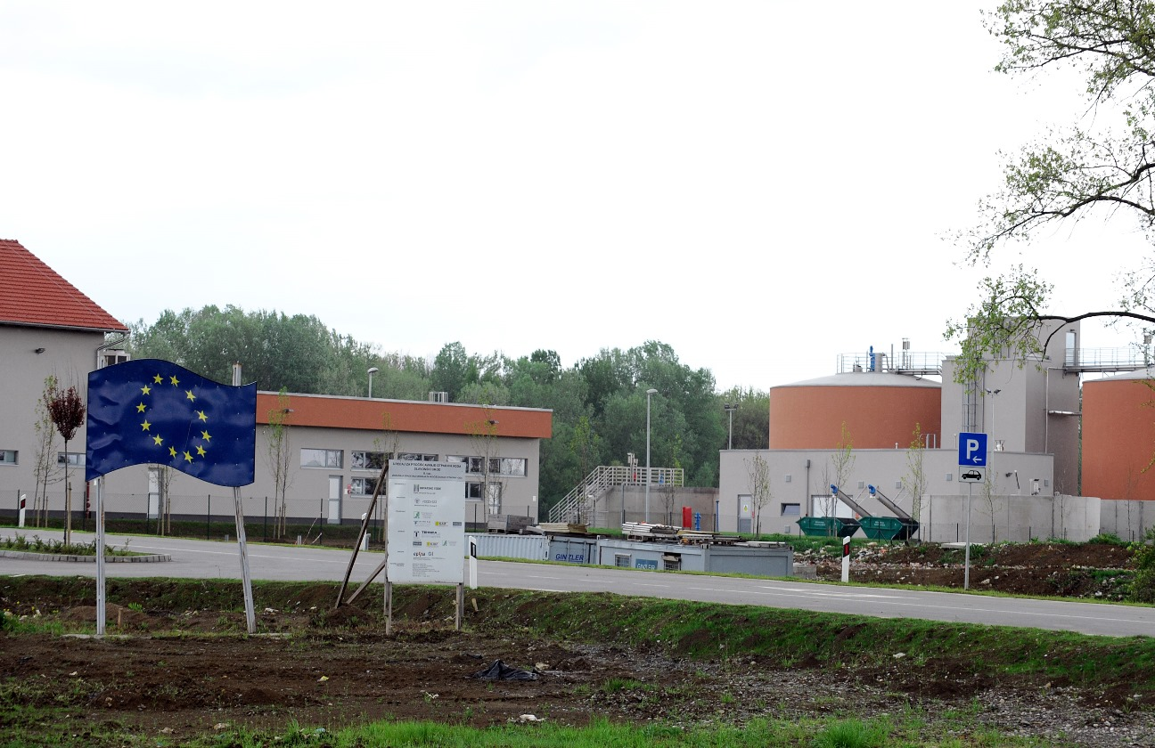 A general view of part of the new wastewater treatment plant in Slavonski Brod, financed through EU funds.