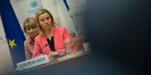 EU High Representative for Foreign Affairs and Security Policy Federica Mogherini attends  at the UN headquater, the venue of the nuclear talks in Vienna, Austria