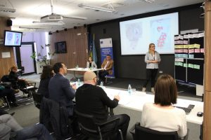 Dragica presents her business idea in front of expert commission in Sarajevo